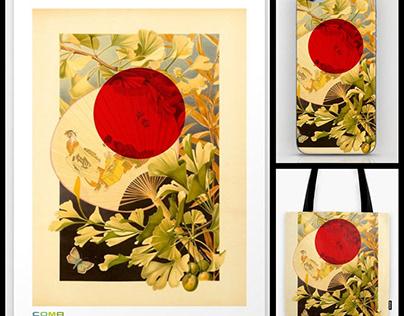 Vintage Illu Print: Japanese Hand Fan with Ginkgo Leafs