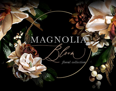 Magnolia Bloom Flower & Monogram Graphics By:Eclectic