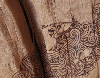 woodburning art for driftwood