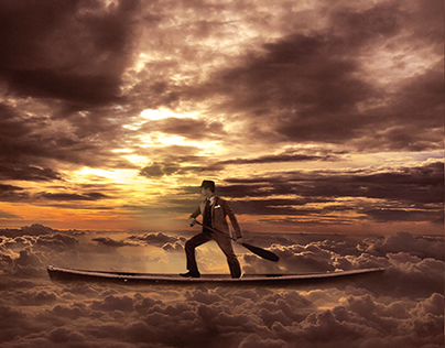 Traveler is above clouds