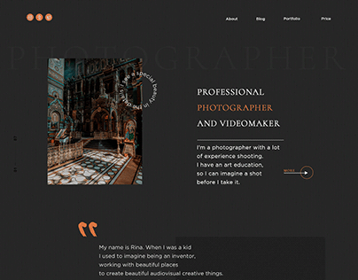 Landing page of photographer