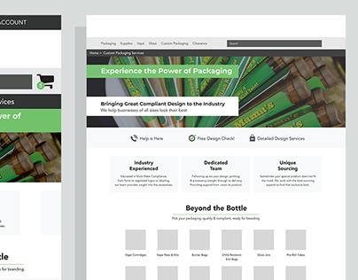 Custom Packaging Portal Hub Wireframe Designs