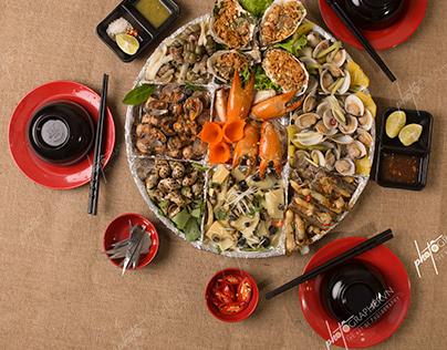 Chụp ảnh món ăn nhà hàng ốc