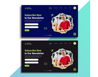 Landing page template design for newsletter