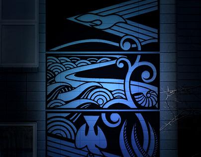 Design for 3 piece Laser cut steel wall feature (NZ)