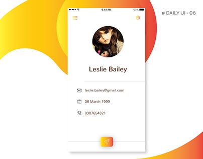 #Daily UI-06 #Profile