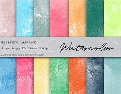 Free - Watercolor Digital Paper, Watercolor Background