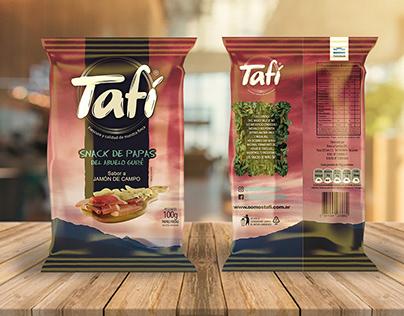 Tafí potato chips packaging.