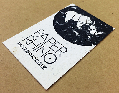 Hand Stamped Rhino Poo Business Cards