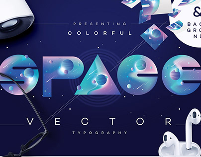 Colorful Space Vector typography