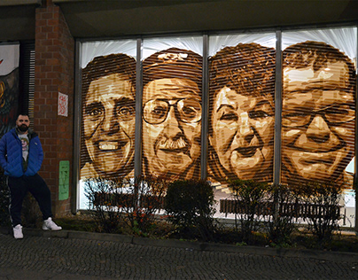 Street Art with Packaging Tape- Four Portraits by Ostap