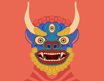 Buddhist Masks Illustrations