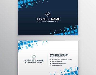 Business Card with Blue Square