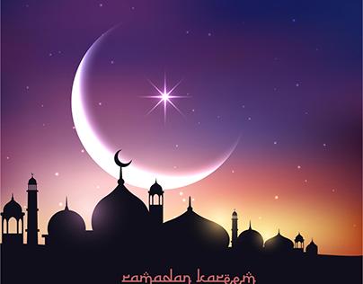 Ramadan Kareem Moon & Star Beautiful Vector Background