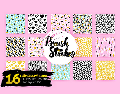 Brush Strokes Seamless Patterns