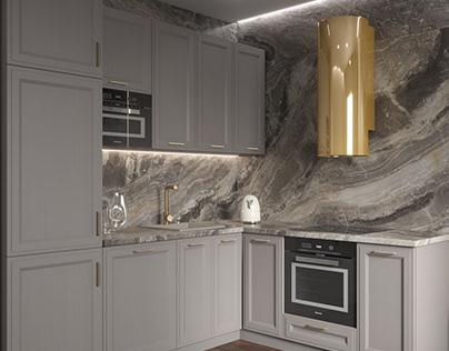 Визуализация кухни по дизайн-проекту заказчика.