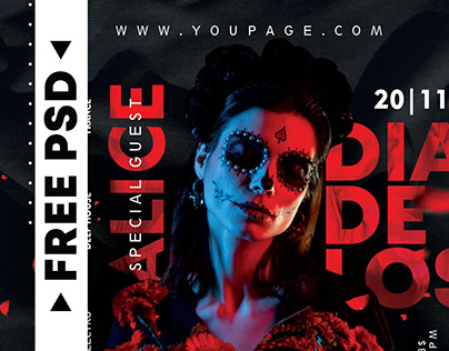 Dia de Los Muertos – Free Flyer PSD Template