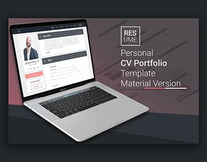 Resume - Material Design Personal Portfolio CV Template