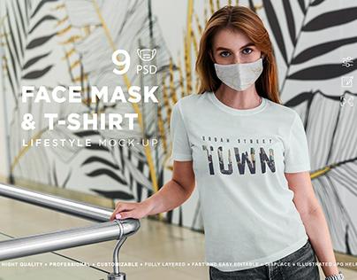 Face Mask & T-Shirt Mockup Lifestyle