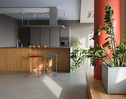 A space with colorful elements