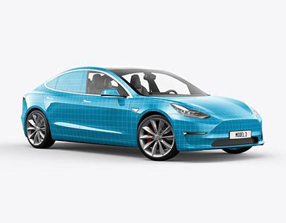 Tesla Model 3 Electric Car Mockup