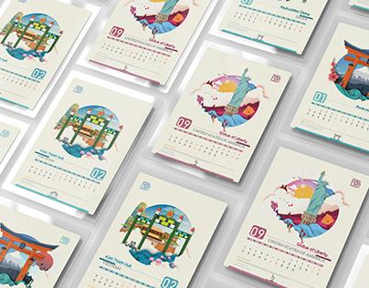 World Cultural Heritage Illustration - calendar-ui-ux