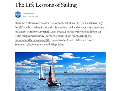 Life Lessons of Sailing (Medium blog post)