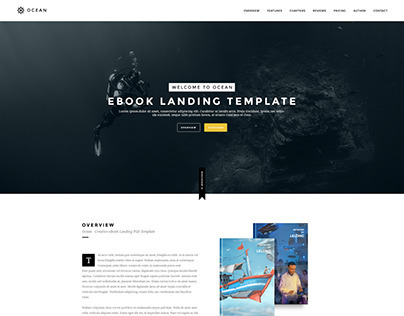 Ocean | eBook Landing PSD Template
