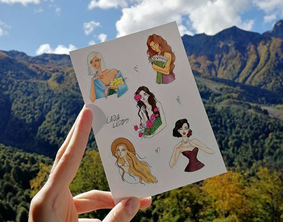 """My first stickers """"Girls with flowers"""""""