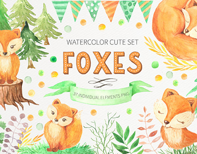 Watercolor Cute Forest Foxes and Floral Set