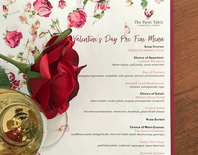 Farm Table Valentine's Day Menu