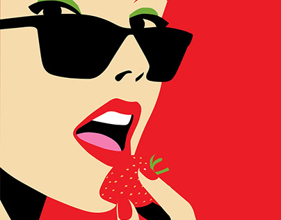 """Illustration """"Girl with strawberry"""""""