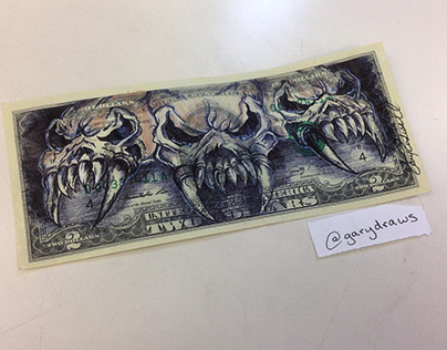 Unholy Trinity currency art by Gary Rudisill