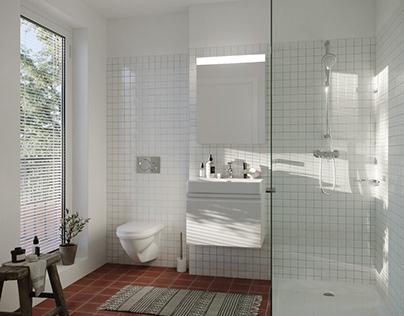 Bathroom in old house around Zurich lake