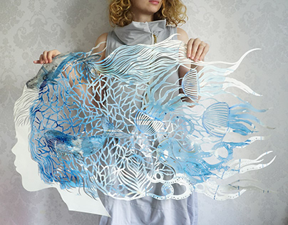 Large watercolored hand cut art work