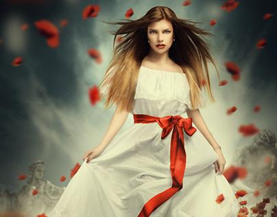 Red Wind Speed Art. Photoshop.