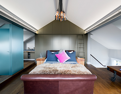 Contemporary Master Bedroom & Bathroom Suite in loft sp