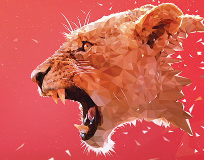 Aggressive Lioness - Low Poly (Speed Art)