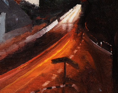 Storm over Bralin - nocturne - oil on canvas