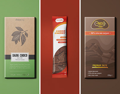 Different types of chocolate bar packaging