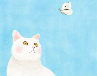 A cat staring at a butterfly
