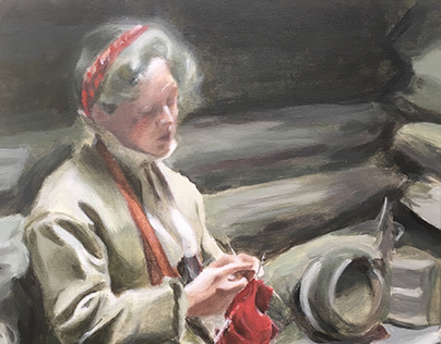 Girl Knitting by Anders Zorn Master copy