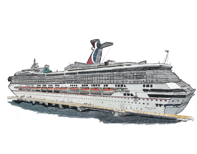 Carnival Valor cruise ship sketch