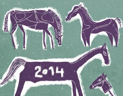 Horses. New year postcard.