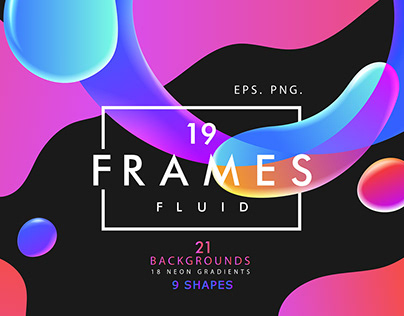 Abstract set with neon fluid frames and flowing shapes