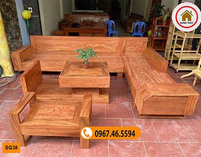 Ghế sofa ngăn kéo ô tô gỗ hương xám đá SG38