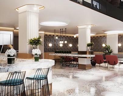 3D Hotel Hall Rendering for Design Presentation
