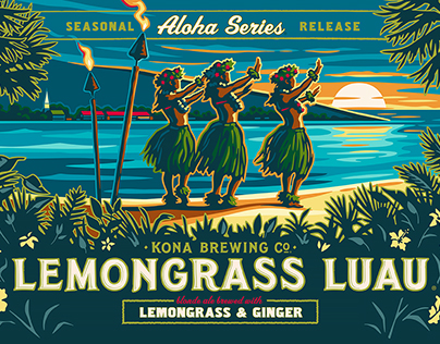 Kona Brewing brand package illustration