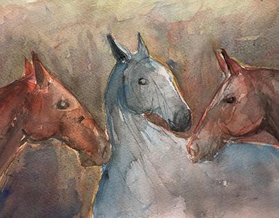 Watercolor horses II