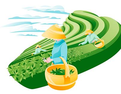 Asian field landscape and tea set vector illustration